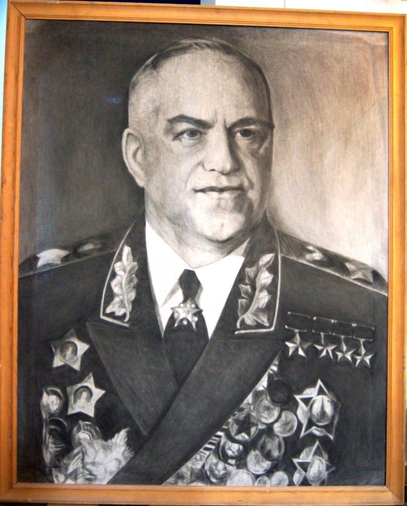Г.К.Жуков (холст, сухая кисть) 200х200