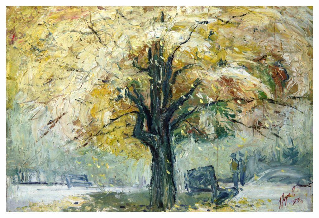 Белое дерево. 1993 г., 60х80, х.м.