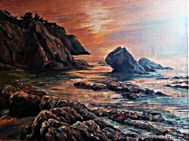 Закат на море. 2014г. х.м. 60х80