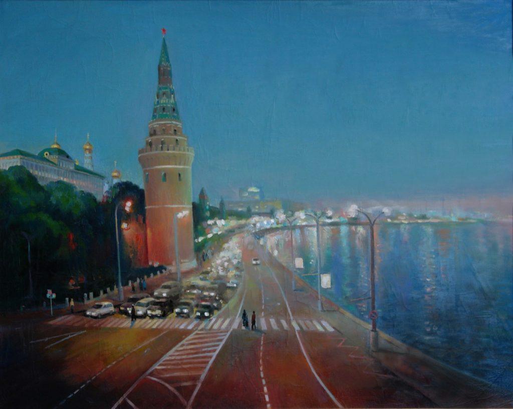 Вид на Кремль вечером. Дроздов С.А. Холст, масло, 55х75. 2006 г.