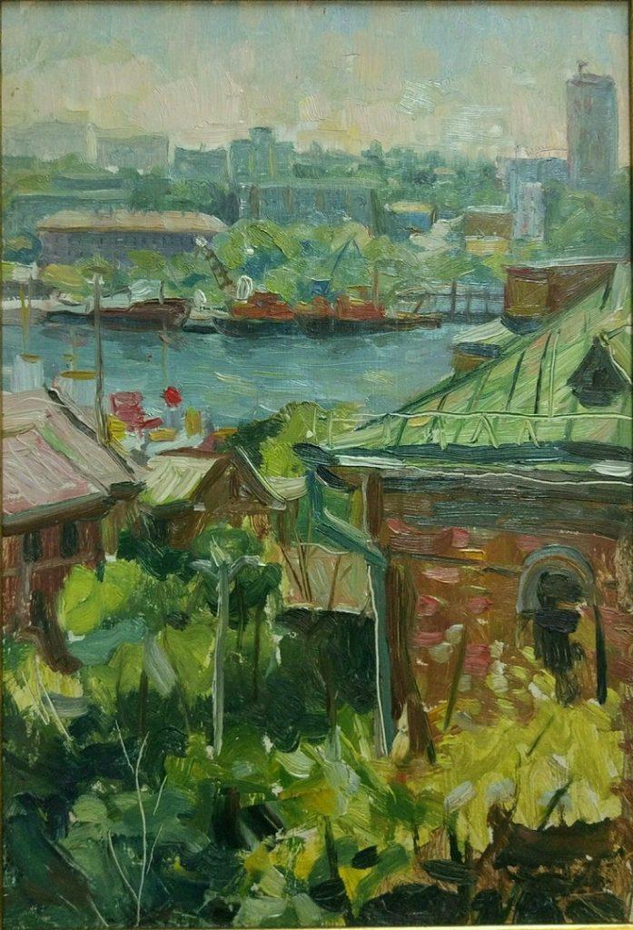 Владивосток. Вид на Чуркин. Дроздов С.А. Картон, масло. 2002 г.
