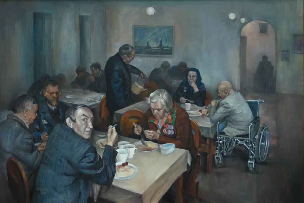 Праздник 9 Мая в доме престарелых. Дроздов С.А. Холст, масло, 74,5х109,5. 2009 г.