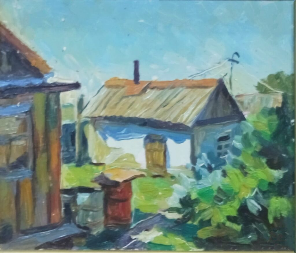 Деревенский дворик. Дроздов С.А.. Картон, масло, 215х24. 2008 г.