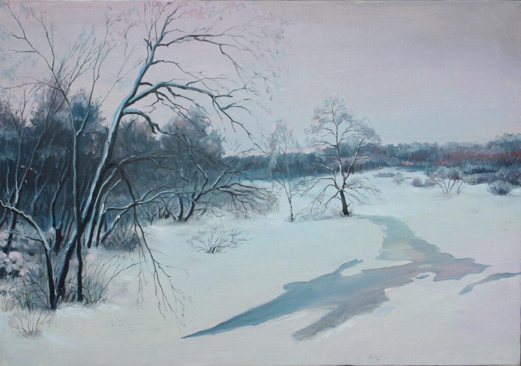 Зимний пейзаж. Дроздов С.А. Холст масло, 40x60. 2014 г.
