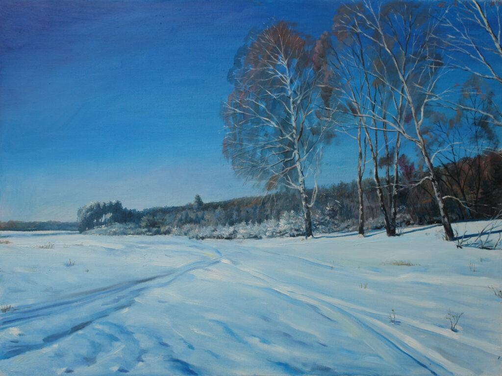 Зимний пейзаж. Дроздов С.А. Холст масло, 60х80. 2009 г.