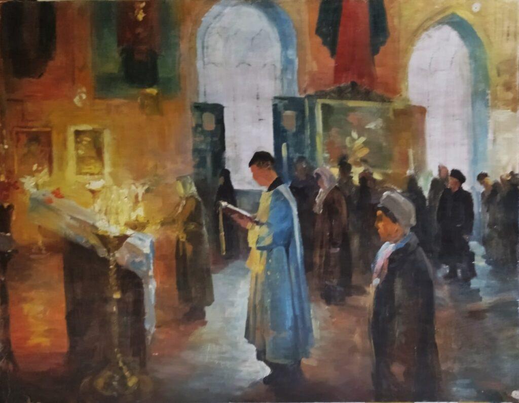 Молебен. Дроздов С.А. Картон, масло, 61х79. 2010 г.
