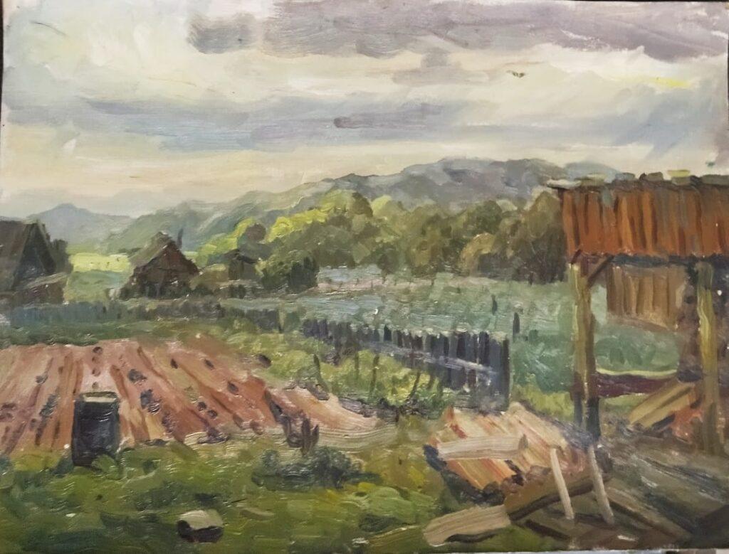 Распогодилось. Село Муравейка. Дроздов С.А. Картон, масло, 41,5х55. 2002 г.